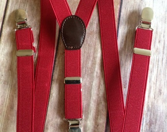 Red Adjustable Suspenders -  Baby thru Youth