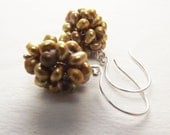 Lovely Golden Pearl Cluster on Argentium Sterling Earwires