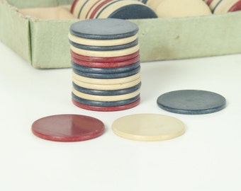 78 Red White and Blue Clay Poker Chips