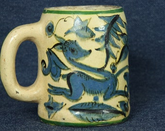 Mexican Pottery Mug, Deer and Floral Motif, Turquoise Blue