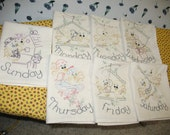FREE SHIPPING Handmade Embroidered Tea Towels Yellow Birdies set of 7