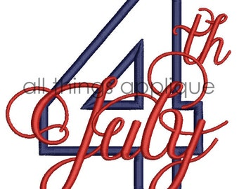 4th of July Applique Design - 4 Sizes - INSTANT DOWNLOAD