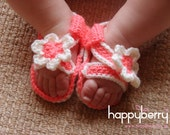 Crochet Pattern (PDF file) Baby Sandal Shoes for 3 to 6 months