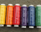 Six spools of linen thread - rainbow colourway