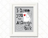 I love you to Atlanta Georgia and back print -Choose your city -I love you to the moon and back