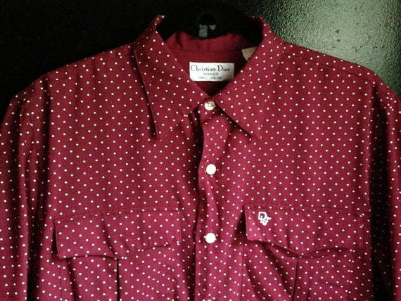 Mens red polka dot dress shirt - Color dress style