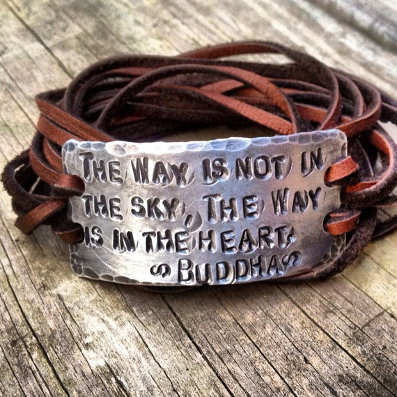 spiritual saying id wrap bracelet silver leather hand