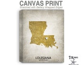 Louisiana Map Stretched Canvas Print - Home Is Where The Heart Is Love Map - Original Personalized Map Print on Canvas