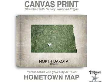 North Dakota Map Stretched Canvas Print - Home Is Where The Heart Is Love Map - Original Personalized Map Print on Canvas