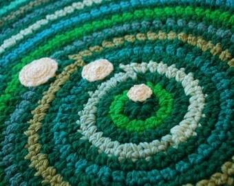 Green rug handmade
