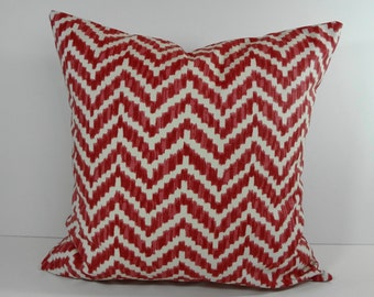 Chevron Red Pillow Cover, Throw Cushion, Ikat Decorative Pillow, 16 x 16