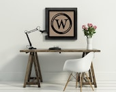 12x12 monogram custom typewriter key personalized initial letter art kraft paper print  poster typography home decor