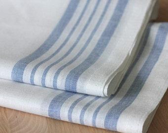 Set of 10 halflinen tea-towels striped blue white