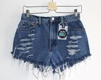 Denim Cutoff Shorts - Dark Blue, High Waisted, Slashed and Frayed Denim Shorts