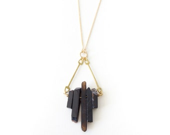 Cygnus Necklace - Black Agate and Brass Geometric Necklace