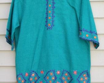 Vintage hand Embroidered Ethnic Tiel blue/green linen shirt ala 1980s