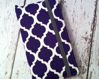 Purple quatrefoil print wallet for HTC, Samsung, and Droid with removable gel case