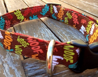 Woof print dog collar