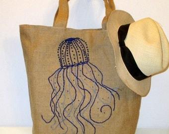 Jelly fish hand embroidered  with blue beads, summer jute tote bag, handmade, beach bag, boho bag