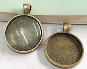 Cabochon Base Setting -5pcs Antique Bronze Round Cameo Bezel Tray Charm Pendants 25mm F403-3