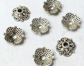 Silver Bead Caps -50pcs Antique Silver Flower End Cap Charms 8mm Tibetan AA101-1