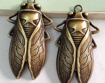 Cicada Insects Charms -3pcs Antique Bronze Huge Cicada Fly Charm Pendants 34x62mm D106-6