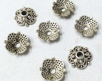 Silver Bead Caps -50pcs Antique Silver Flower End Cap Charms 8mm Tibetan AA101-1