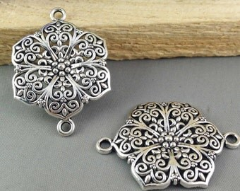 10pcs Antique Silver Beautiful Flower Connector Link Charm Pendants 28x40mm AB205-4