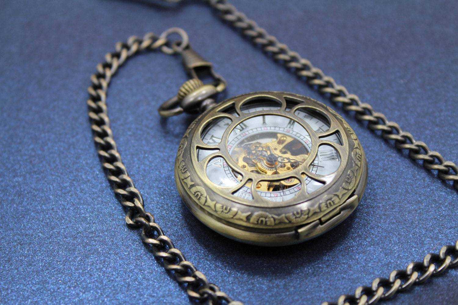 amazing brass mechanical pocket watch with gears exposed for