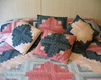Vintage Patchwork Log Cabin Pinks Blues Full Queen Cotton Rose Teal King Throw Full Queen Quilt with 4 Pillow covers