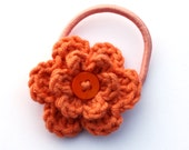 Cinnamon Orange Crochet Flower Hair Bobble with Orange Button