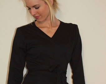Black Jersey Wrap Top with Long Sleeves