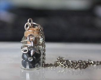 Stardust Steampunk Alchemy tiny bottle necklace