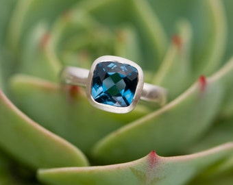 Blue Topaz Ring -  London Blue Topaz Ring - Blue Topaz Silver Ring - Made to order - FREE SHIPPING