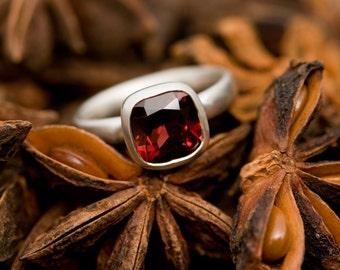 Ruby Red Garnet Ring - Red Gemstone Ring - Garnet Ring Set In Sterling Silver - Made to order -   FREE SHIPPING