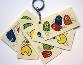 PAC-MAN original VINTAGE fan out key chain rare ghost chase story board