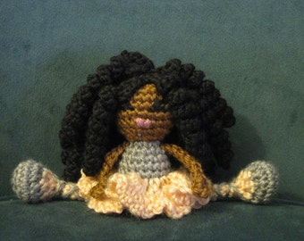 Mini Pocket Pal - Crochet African Doll Plush Afro Dread Locks Twists Bantu Knots Natural Black Hair Stuffed Toy Baby Girl Gift MADE TO ORDER