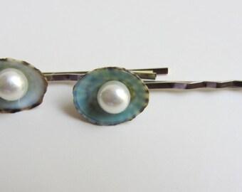 Beach Wedding Hair - Pearl and Limpet Shell Hair Pins - Something Blue - Small Hairpins - Seashell Hair Accessories - Mermaid Hair - 2 pins