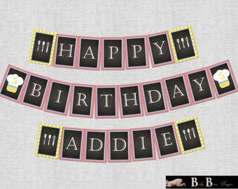 Chef or Cooking Birthday Party - Banner - PRINTABLE (red, yellow, blue)