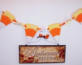 Fabric Banner, Applique, Candy Corn, Fall Decoration, Thanksgiving, Halloween, Autumn Decor