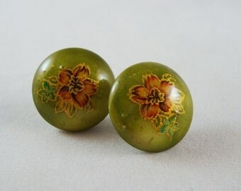 Vintage Green, Pink and Gold Floral Post Earrings