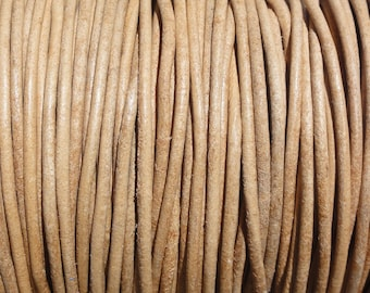 50 Meter Spool (54.7 Yards) Natural Genuine Leather 2mm Round Cord (Not Dyed)