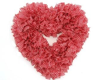 Heart Wreath -- Valentine's Wreath -- Gingham Wreath -- Red and White Wreath -- Winter Wreath -- Door Wreath -- Indoor Wreath -- Rag Wreath
