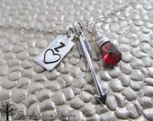 Sterling silver arrow necklace with red Garnet gem, personalized initial tab charm, anniversary, hand stamped, valentines day, love