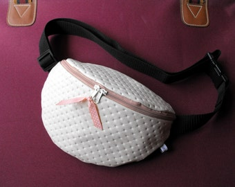 fanny pack/hip bag - light beige and rosy LEATHERETTE (medium size)