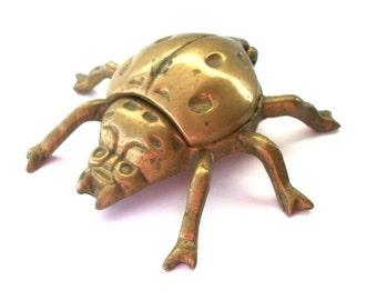 Vintage Ashtray Brass Ladybug Hinged  for Smoking