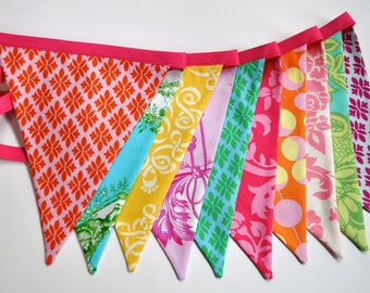 Bright girls fabric pennant banner bunting, Girls bright colored birthday party decoration, room decor, photo prop
