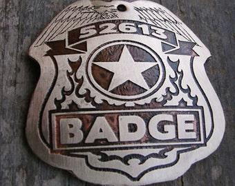 Dog ID Tag, Badge Pet Tag, Police Dog Style Pet Tag, Custom Pet ID Tag, 2 inch - Extra Large