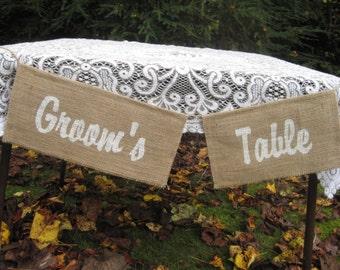 Burlap banner, Rustic Wedding, Rustic Wedding Decor, Groom's Table Sign, Burlap sign, Groom's Table banner, Burlap Banner