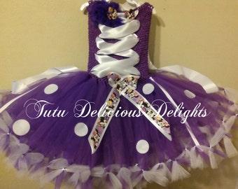 Purple and White Minnie Inspired Petti Tutu Dress, Minnie Mouse Party, Kids Birthday Tutus, Pageant Dress, kids Photo Props, Minnie Tutu